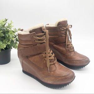 Koolaburra Snow Jog Hidden Wedge Leather Booties